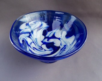 Hand Blown Art Glass  Candy Bowl
