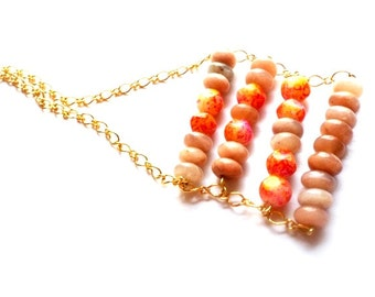 Boho chic ladder bar pendant necklace with natural red moonstone gemstone beads and glass beads  Boho summer necklace  moonstone bar pendant