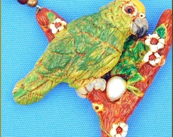 Hand Sculpted Amazon Parrot Necklace by Critter Craft