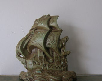Vintage Green Ceramic Tall Ship Bookend or Wall Hanging