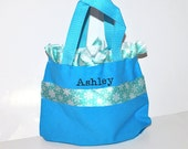 Light Blue Personalized Snowflake Bag with Name Embroidered on it, Ruffle Snowflake Ribbon. Dance Bag, Princess Bag, Easter Basket Bag
