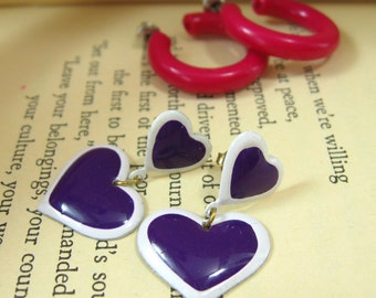 Pink and Purple Earring Set, Purple Heart Earrings, Heart Dangle Earrings Pierced Earrings, Purple and Pink Girly Earrings Valentine Jewelry