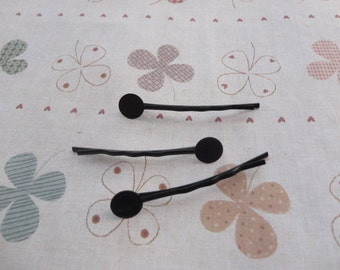 200pcs black tone straight bobby hair pins with solder round pad 1.8inch