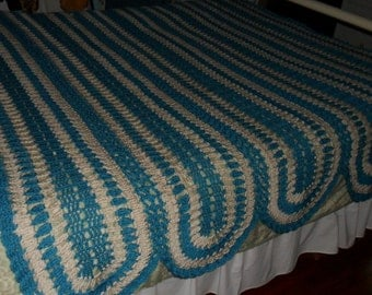 Crochet Afghan (Queen) - Blanket - Throw - Coverlet - Bedspread ''STRIPPED PANELS'' in Teal and Ivory