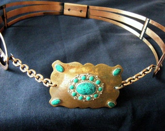one of a kind 1950s RENOIR COPPER BELT with Giant Turquoise Inlay Buckle and chains, size large
