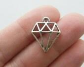 BULK 50 Diamond charms antique silver tone P284