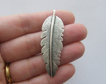 4 Feather charms antique silver tone B221