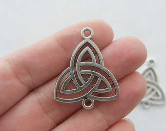 4 Celtic knot connector charms antique silver tone R39