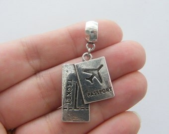 2 Passport and ticket charms antique silver tone WT57