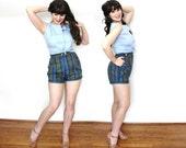 1950s Shorts / 50s Hot Pants / 1950s Blue Plaid High Waisted Shorts