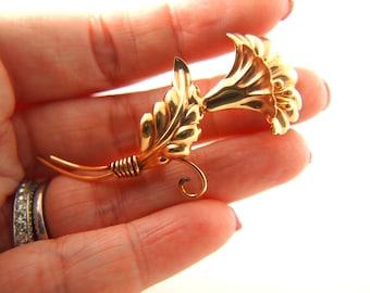 Gold Flower Brooch - 10K Gold Brooch - Regel Brooch - 1940s - Wedding Jewelry - Vintage