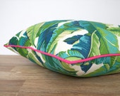Swaying palm leaf pillow case 18x18, green and pink outdoor cushion, banana leaf outdoor pillow cover Martinique decor, tropical cushion
