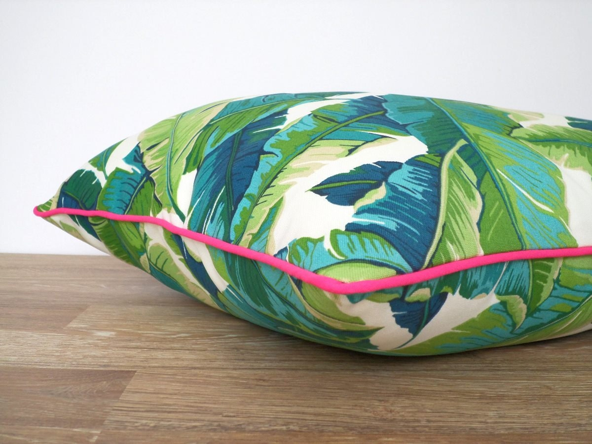 Swaying Palm Leaf Pillow Case 18x18 Green And Pink Outdoor