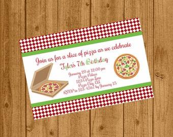 Pizza Party Birthday Invitation, Move and Pizza Night Invitation, 128