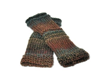 Fingerless Gloves, Gloves, Knit Gloves, Hand Knit Gloves, Texting Gloves, Fingerless Mittens. Teen Gloves, Blue Rust Brown Gloves, Women,