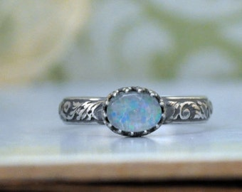 STERLING OPAL RING hand made floral band oxidized sterling silver ring with vintage natural opal stone cab