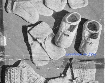 Vintage KNITTING PATTERN - Booties/Bootees and Mittens 6 items