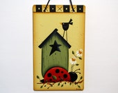 Ladybug and Birdhouse Sign, Crow, Daisies, Handpainted Wood, Primitive Wall Art