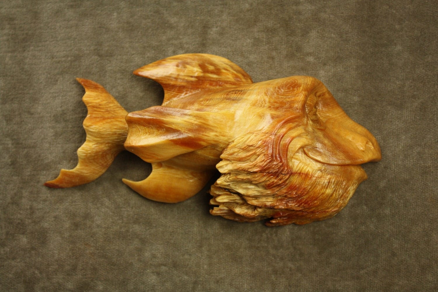 Carved wood fish wood carving gift for fisherman a whimsical for Fish wood carving