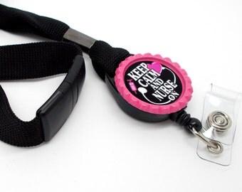 Keep Calm and Nurse On Lanyard Pink - Labor and Delivery Lanyard - PICU Lanyard - Nurse Badge Holder - RN Badge Holder - Name Tag Holder
