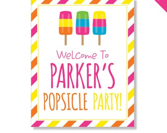 Popsicle Party - Personalized DIY printable sign