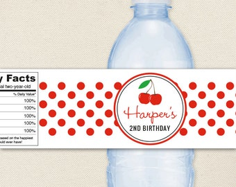 Cherry Party - 100% waterproof personalized water bottle labels