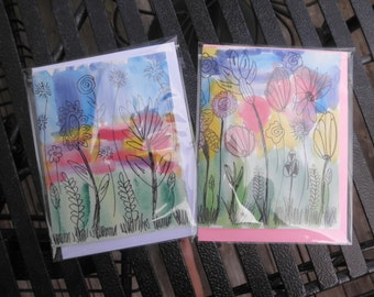 Mutli Color Floral Water Color Cards set of two