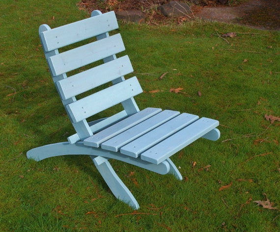 Outdoor Cedar Chair - Comfy - color: Sea Glass Blue - handcrafted by Laughing Creek