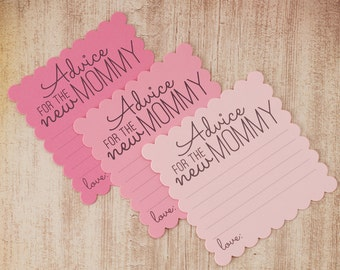 Advice for the New Mommy - Baby Shower Advice Cards - Mommy Advice Cards - Baby Shower Game - Pink - Baby Girl