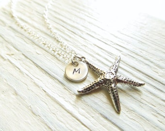 Sterling Silver Starfish Necklace with Initial, Beach Wedding Jewelry, Personalized Bridesmaid Gift, Starfish Jewelry, Nautical Jewelry