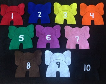 10 Elephants flannel felt story