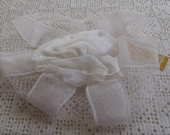 Vintage Hat Sheer White Ribbons Netting