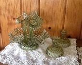 Fenton Epergne & Candlesticks Green Glass Thumbprint Pattern Mint
