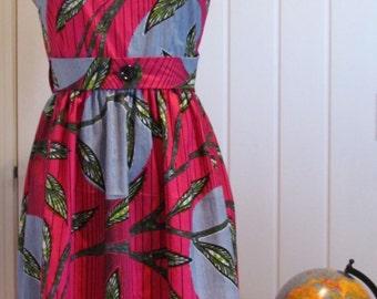 African wax print vintage style wrap dress