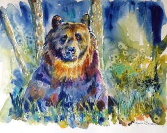 Watercolor Bear in the Woods Art Print by Maure Bausch