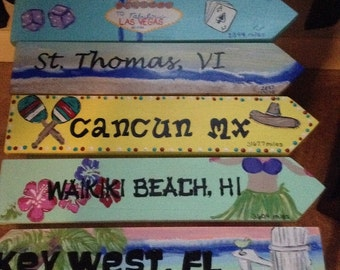 Hand painted custom destination signs