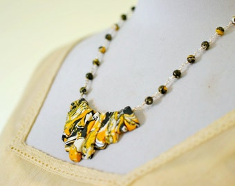 Yellow and Black Bib Necklace, Chunky Beaded Necklace, Yellow Statement Necklace, Modern Jewelry, Striped Stones Beaded Necklace