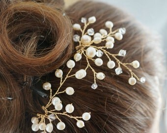 Ivory Wedding Hair Pins Set of 2 Bridal hair accessories Natural Freshwater Pearls Gold Silver Vines Flower Headpiece Crystals Unique Pins
