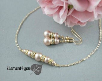 Bridesmaid Jewelry Sets, Gold Pearl Wedding Jewelry, Pearl Earring Necklace Set, Bridesmaids Earrings, Bridesmaids Bridal party gift