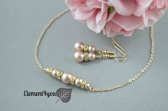 Bridesmaid Jewelry Sets, Gold Pearl Wedding Jewelry, Pearl Earring Necklace Set, Bridesmaids Earrings, Bridesmaids Bridal party gift