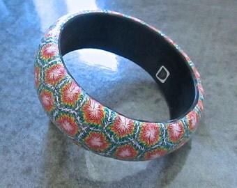 Tie-Dye Bracelet, Sunburst Bangle, Polymer Clay Bangle, Millefiori Bracelet, Handmade Bangle, Custom Jewelry, Statement Bangle, Wearable Art