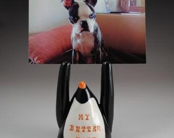 My Better Half  Ceramic Penguin Photo Holder Black White and Orange