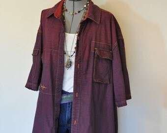 Red Mens XXL Denim Shirt Jacket - Red Wine Hand Dyed Upcycled Sean John Denim Shirt Jacket - Adult Women Extra Large (46 chest)