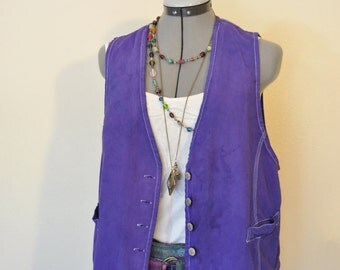 "Violet Medium Denim VEST - Urban Style Violet Purple Hand Dyed Upcycled Casual Clothing Denim Vest - Womens Size Medium  (40"" chest)"