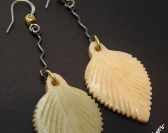 Leaf Long, Carved Bone Leaves, Gunmetal, Stainless Steel and Brass Earrings, ThePurpleLilyDesigns