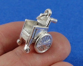 Wheelchair Charm - Silver Plated Wheelchair Charm for Necklace or Bracelet