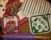 2 kitchen sets of towel and hot pad with crocheted  edging