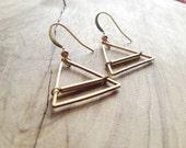Hammered Brass Triangle Dangle Earrings