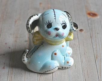 Puppy Planter, Shafford Ware  Blue Ceramic Puppy Planter Japan 6A/422