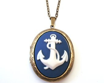 Navy Blue Anchor Locket, Nautical Locket, Sailor Locket, Cameo Locket Necklace, Navy Blue Necklace, Choose Bronze or Gunmetal